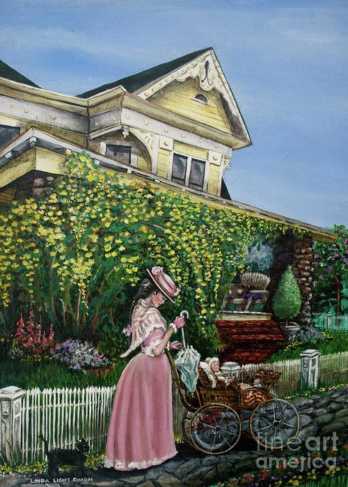 House Greeting Card featuring the painting Behind The Garden Gate by Linda Simon