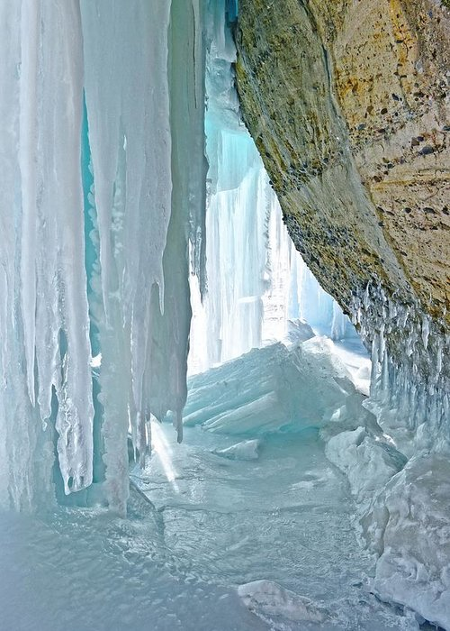 Ice Caves Greeting Card featuring the photograph Behind The Ice by Kathryn Lund Johnson