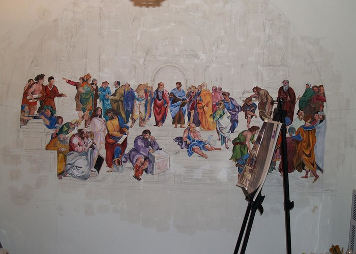 Photography Greeting Card featuring the painting Behind The Scenes Mural 7 by Becky Kim
