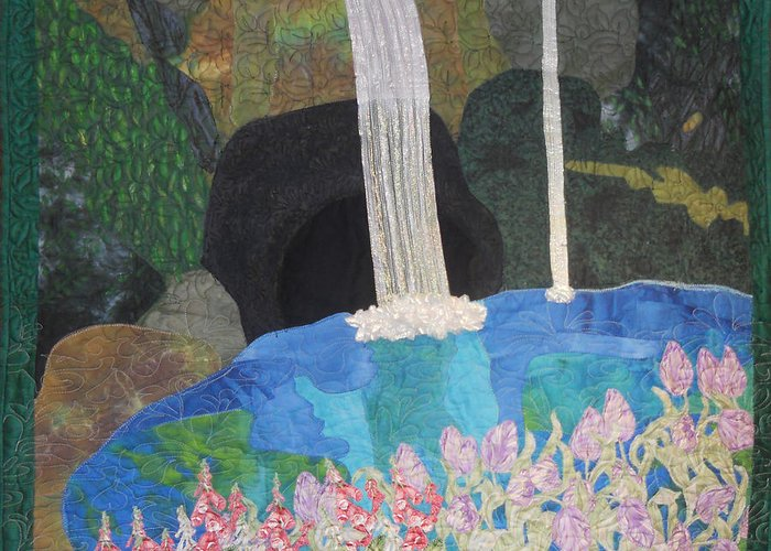 Waterfall Greeting Card featuring the tapestry - textile Behind The Waterfall by Aisha Lumumba