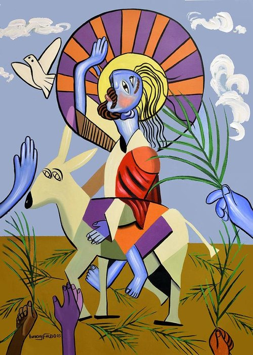 Behold The Lamb Of God Greeting Card featuring the painting Behold The Lamb Of God by Anthony Falbo
