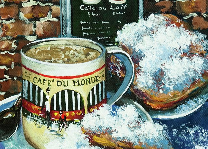 New Orleans Art Greeting Card featuring the painting Beignets And Cafe Au Lait by Dianne Parks