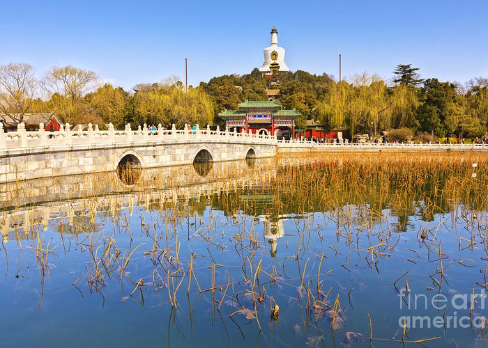 Beihai Park Greeting Card featuring the photograph Beijing Beihai Park And The White Pagoda by Colin and Linda McKie