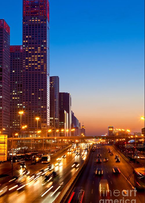 Beijing Greeting Card featuring the photograph Beijing Central Business District China by Fototrav Print