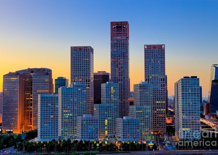 Beijing Greeting Card featuring the photograph Beijing Central Business District by Fototrav Print