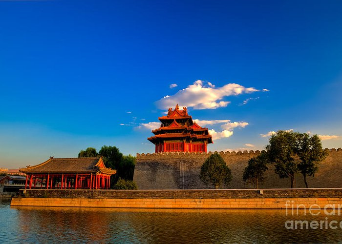 Beijing Greeting Card featuring the photograph Beijing Forbidden City by Fototrav Print