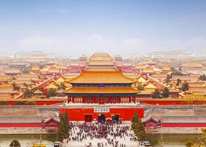 Aerial Greeting Card featuring the photograph Beijing Forbidden City Skyline by Colin and Linda McKie