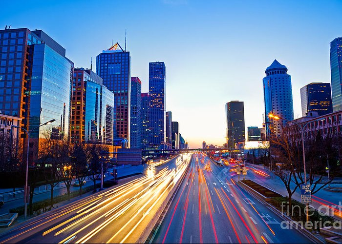 Beijing Greeting Card featuring the photograph Beijing Skyline At Night by Fototrav Print