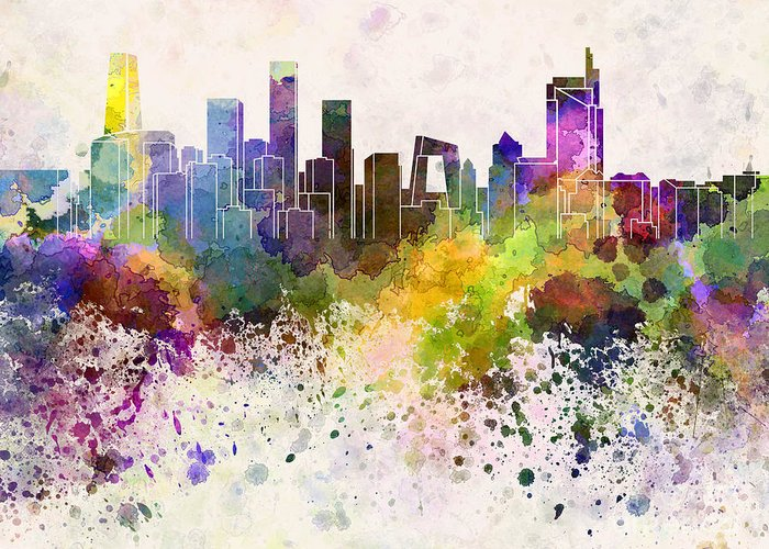 Beijing Skyline Greeting Card featuring the painting Beijing Skyline In Watercolor Background by Pablo Romero