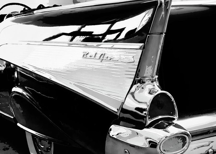 Vintage Cars Greeting Card featuring the photograph Bel Air Bw Palm Springs by William Dey