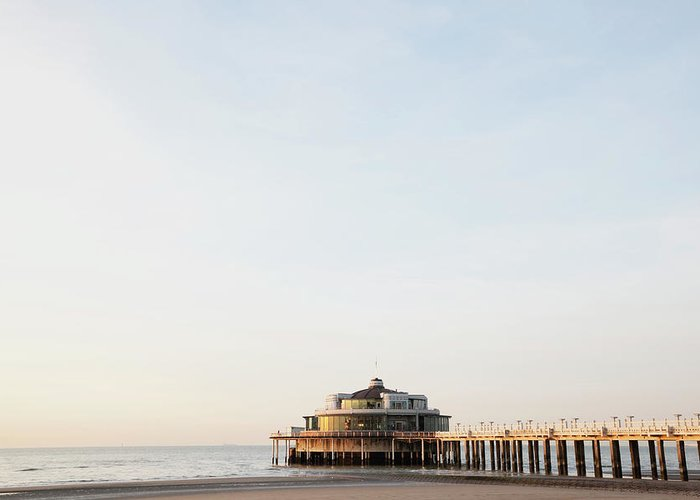 Tranquility Greeting Card featuring the photograph Belgium, Blankenberge, View Of Pier At by Westend61