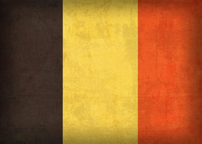 Belgium Flag Vintage Distressed Finish Belgian Europe Nation Country Brussels Greeting Card featuring the mixed media Belgium Flag Vintage Distressed Finish by Design Turnpike