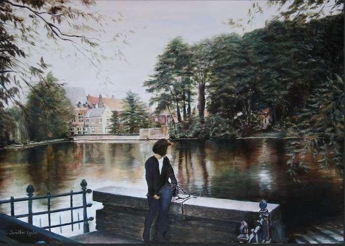 Water Greeting Card featuring the painting Belgium Reflections In Water by Jennifer Lycke