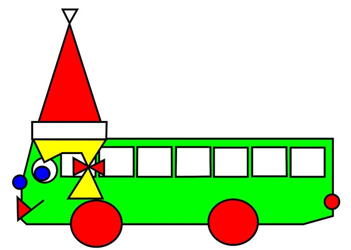 Belinda The Bus Wishes You A Merry Christmas Greeting Card featuring the digital art Belinda The Bus Wishes You A Merry Christmas by Asbjorn Lonvig