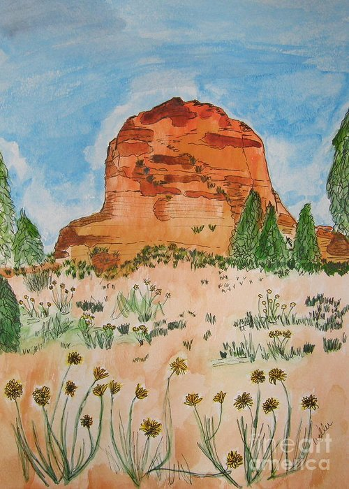 Bell Rock Greeting Card featuring the painting Bell Rock by Marcia Weller-Wenbert