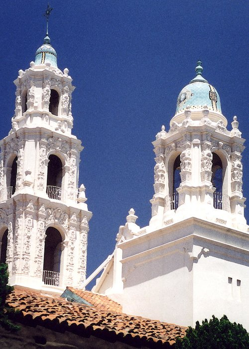 Bell Tower Greeting Card featuring the photograph Bell Towers by Mary Bedy