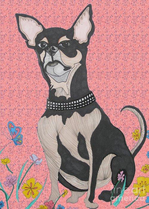 Bella Greeting Card featuring the drawing Bella Bella Pink by Karen Larter