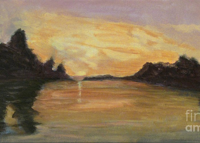 Belle River Greeting Card featuring the painting Belle River II by Carol Oufnac Mahan