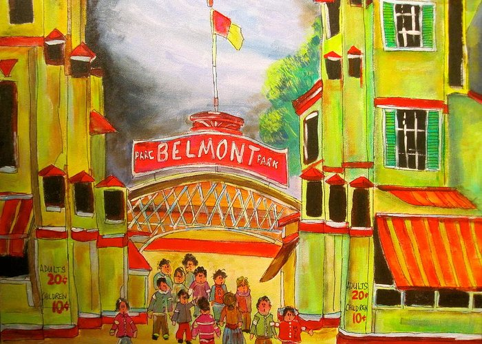 Belmont Park 1940's Greeting Card featuring the painting Belmont Park 1940's Montreal Memories by Michael Litvack