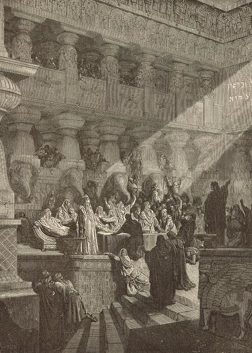 Biblical Greeting Card featuring the drawing Belshazzar's Feast by Antique Engravings
