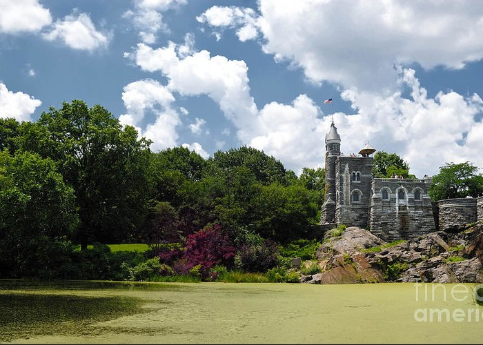 Algae Greeting Card featuring the photograph Belvedere Castle Turtle Pond Central Park by Amy Cicconi