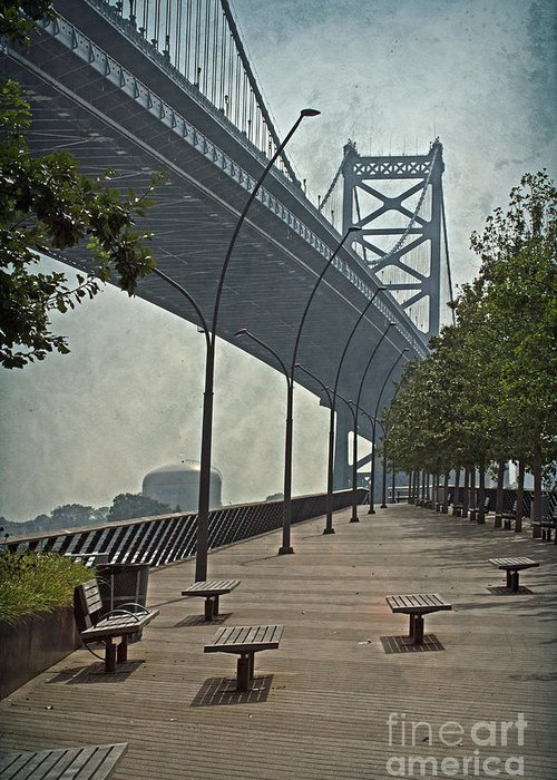 Colorful Greeting Card featuring the photograph Ben Franklin Bridge And Pier by Tom Gari Gallery-Three-Photography