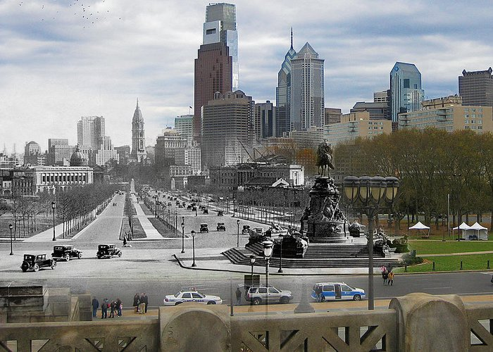 Philadelphia Greeting Card featuring the photograph Ben Franklin Parkway by Eric Nagy