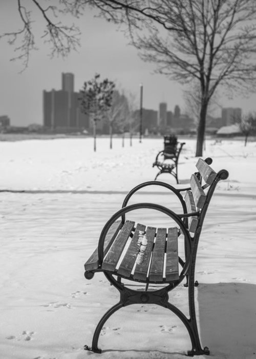 Detroit Greeting Card featuring the photograph Bench At Belle Isle With Detroit I by John McGraw