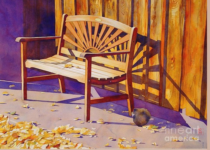 Watercolor Greeting Card featuring the painting Bench At Sharlot Hall by Robert Hooper