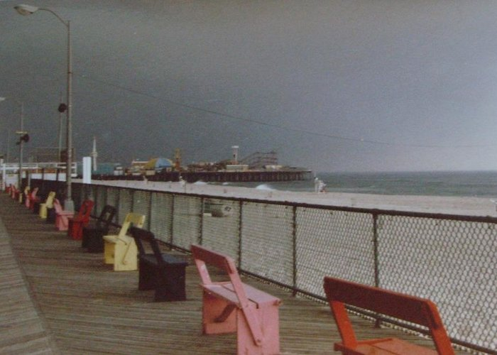 Casino Pier Greeting Card featuring the photograph Benches Of Seaside Heights Nj by Joann Renner