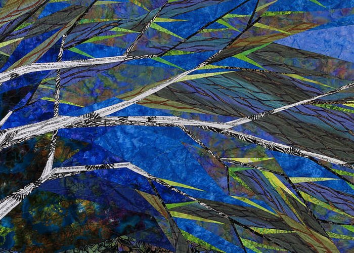 Tree Greeting Card featuring the tapestry - textile Bending Not Breaking by Linda Beach