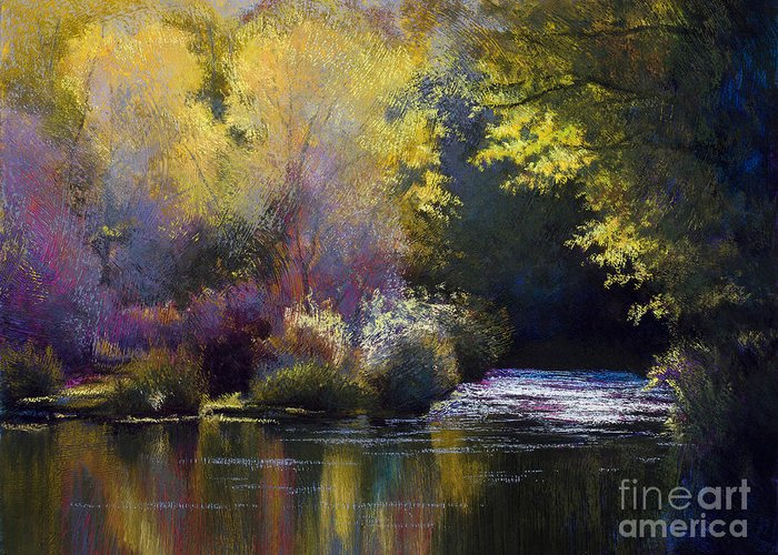 River Greeting Card featuring the painting Bending With The River by Vicky Russell
