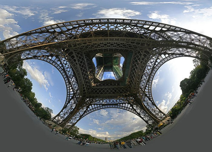 Eiffel Tower Photographs Greeting Card featuring the photograph Beneath by Gary Lobdell