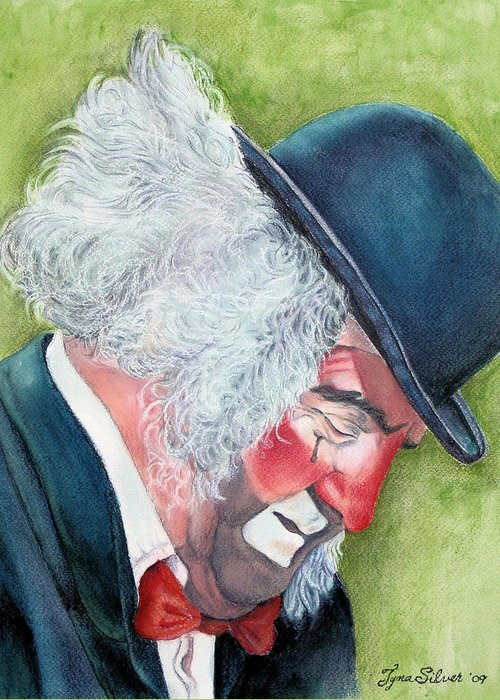 Portrait Greeting Card featuring the painting Beneath The Mask by Tyna Silver