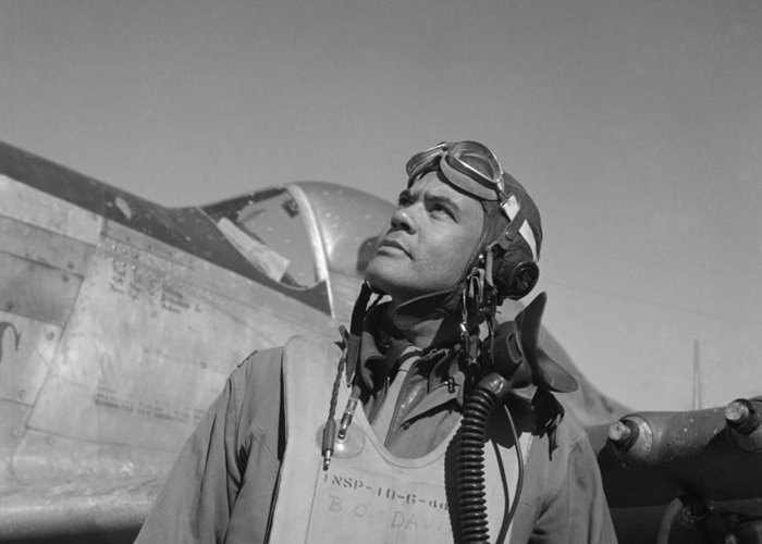 Benjamin Davis Greeting Card featuring the photograph Benjamin Davis - Ww2 Tuskegee Airmen by War Is Hell Store