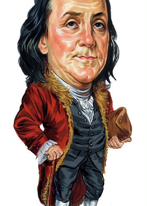 Benjamin Franklin Greeting Card featuring the painting Benjamin Franklin by Art
