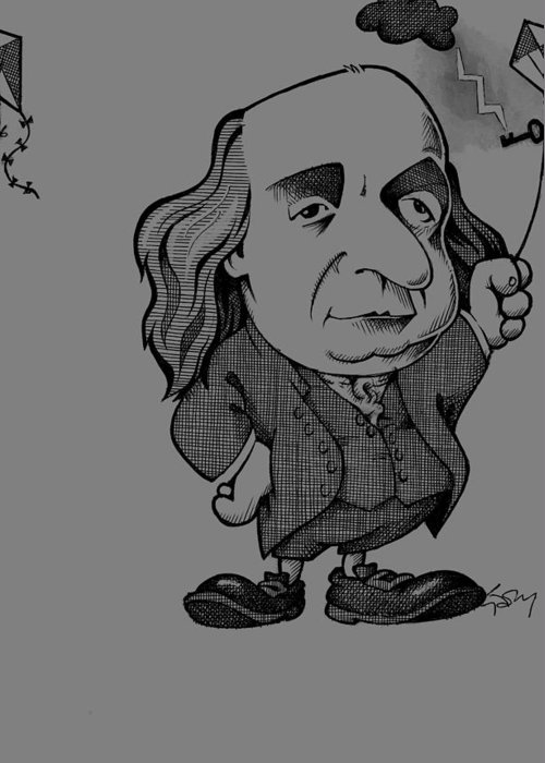 1700s Greeting Card featuring the photograph Benjamin Franklin, Caricature by Science Photo Library