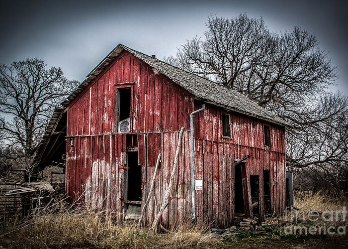 Barns Greeting Card featuring the photograph Bent But Not Broken by Jim McCain