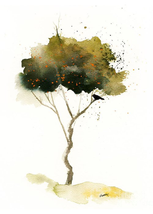 Art Greeting Card featuring the painting Bent Tree With Blackbird by Vickie Sue Cheek