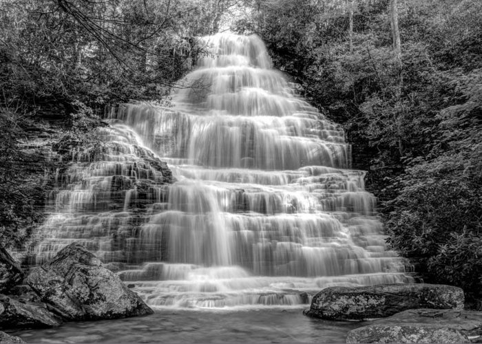 Appalachia Greeting Card featuring the photograph Benton Falls In Black And White by Debra and Dave Vanderlaan