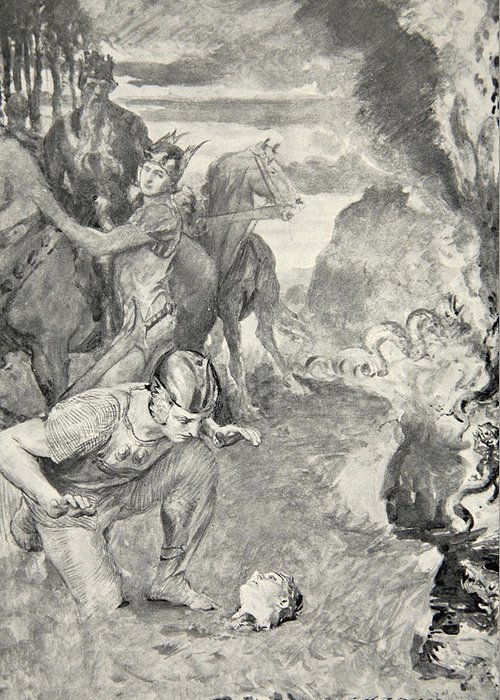 Beowulf Greeting Card featuring the drawing Beowulf Finds The Head Of Aschere by John Henry Frederick Bacon