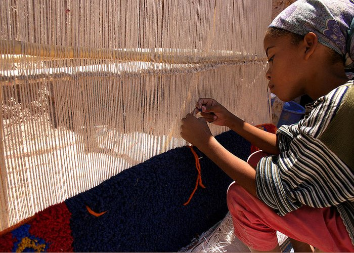 Berber Girl Greeting Card featuring the photograph Berber Girl Working On Traditional Berber Rug Ait Benhaddou Southern Morocco by Ralph A Ledergerber-Photography