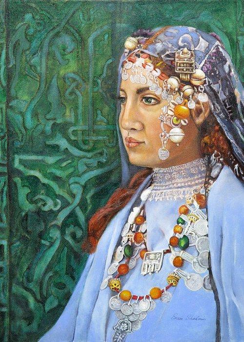 Berber Woman Greeting Card featuring the painting Berber Woman by Enzie Shahmiri