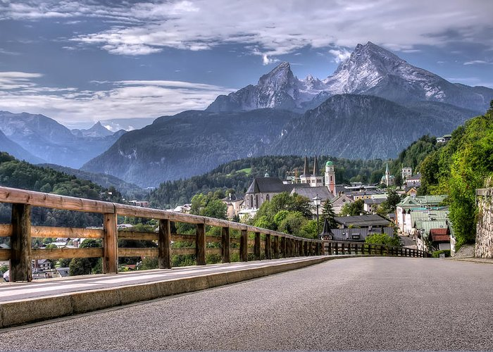 Alpine; Alps; Architecture; Bavaria; Bavarian; Berchtesgaden; Berchtesgaden Alps; Castle; Church; City; Dark; Famous; From Above; Germany; Grunge; Holidays; Koenigsee; Land; Landscape; Manor House; Mountains; Palace; Panoramic View; Residence; Road; Spire; St. Peter; Upper Bavaria; Watzmann; Greeting Card featuring the photograph Berchtesgaden Road And Mountain by Ioan Panaite