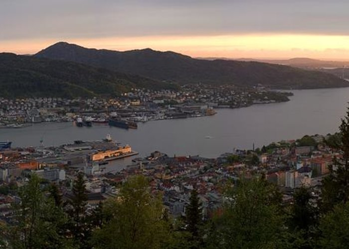 Panorama Greeting Card featuring the photograph Bergen Sunset Panorama by Benjamin Reed