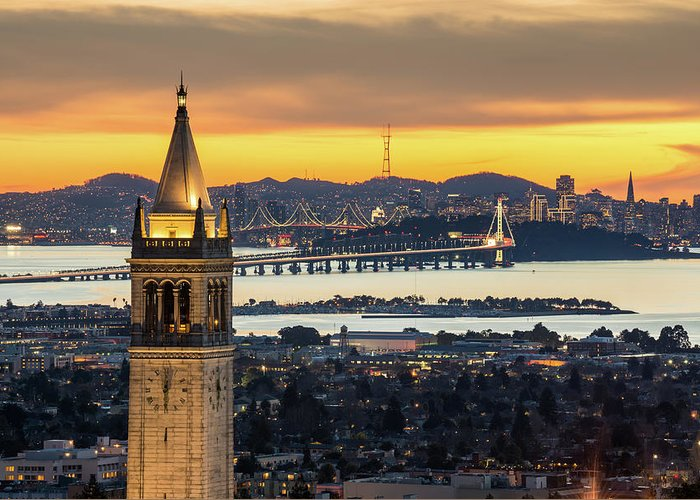 San Francisco Greeting Card featuring the photograph Berkeley Campanile With Bay Bridge And by Chao Photography