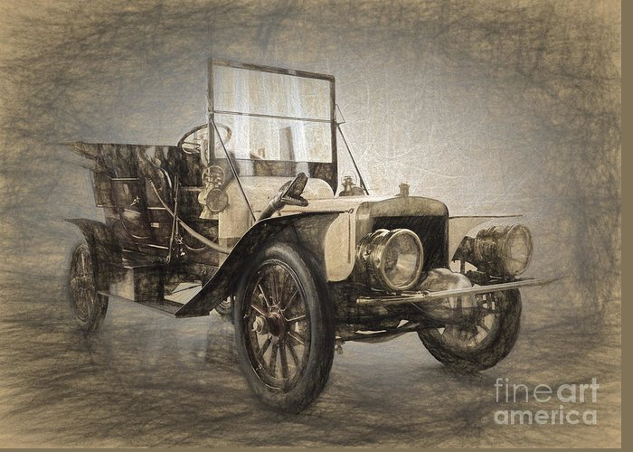 1907 Berliet C2 Double-phaéto Greeting Card featuring the digital art Berliet Double Phaeton by Perry Van Munster