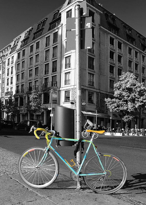 Berlin Greeting Card featuring the photograph Berlin Street View With Bianchi Bike by Ben and Raisa Gertsberg