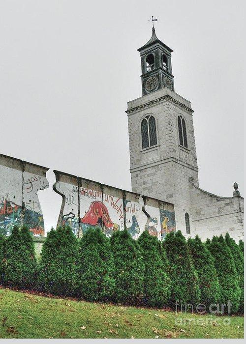 Christopher Wren Designed Church Greeting Card featuring the photograph Berlin Wall Segment by David Bearden