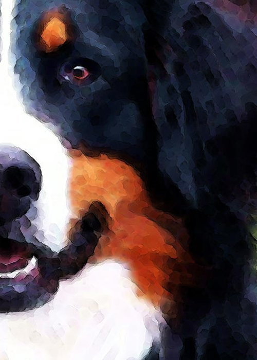 Bernese Mountain Dog Greeting Card featuring the painting Bernese Mountain Dog - Half Face by Sharon Cummings